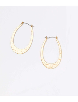 Hammered Oval Hoop Earrings by Loft
