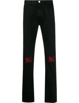 Knee Embroidery Slim Fit Jeans by Raf Simons
