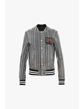 Embroidered Bomber Jacket With Rhinestones by Balmain