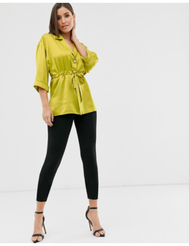 River Island Satin Shirt With Gathered Waist In Chartuese by River Island