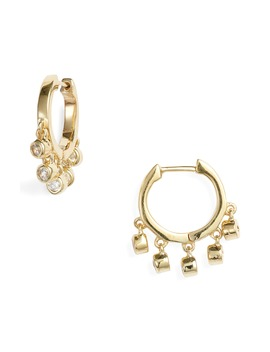 White Zircon Huggie Hoop Earrings by Ela Rae