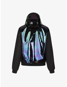 Hooded Jacket In Iridescent Leather And Neoprene by Givenchy