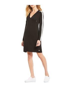 Stripe Print Stretch Knit Jersey Hoodie Dress by Michael Michael Kors