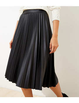 Pleated Faux Leather Midi Skirt by Loft