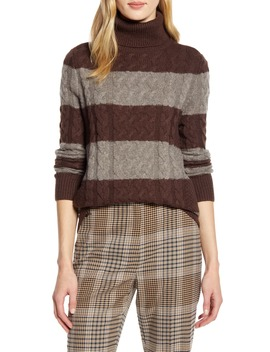 X Atlantic Pacific Cable Knit Turtleneck Sweater by Halogen