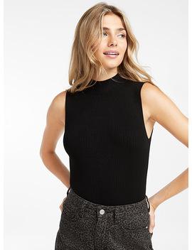 Sleeveless Mock Neck Sweater by Twik