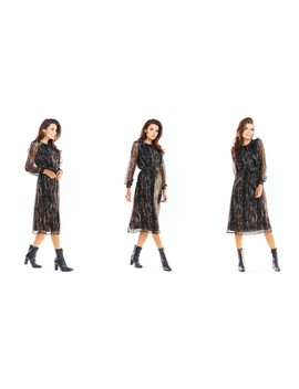 Long Sheer Sleeve Midi Dress In Dark Animal Print by Awama