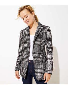 Plaid Tweed Long Modern Blazer by Loft
