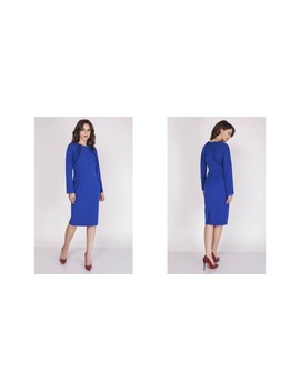 Tailored Midi Dress With Frill And Long Sleeve In Blue by Bergamo