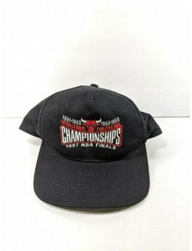 Vintage Chicago Bulls 1997 Nba Finals Drive For Five Championships Hat by Kc