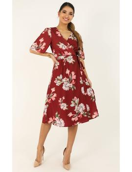 Decoding Dress In Wine Floral by Showpo Fashion