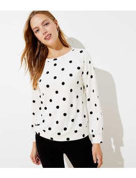 Polka Dot Velour Sweatshirt by Loft