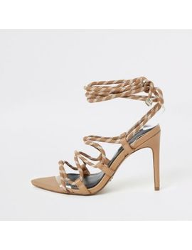 Beige Lace Up Skinny Heel Sandal by River Island
