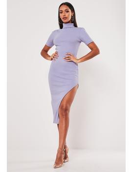 Lilac Rib Roll Neck Side Split Midi Dress by Missguided