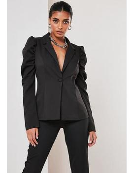 Black Co Ord Puff Sleeve Skinny Blazer by Missguided