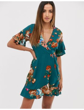 Ax Paris Teal Floral Mini Ruffle Wrap Dress by Asos