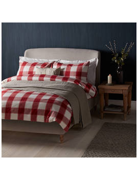 John Lewis & Partners Warm And Cosy Ombre Check Brushed Cotton Duvet Cover And Pillowcase Set, Red by John Lewis & Partners