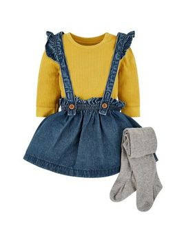 Mini Club Pinny Dress And Tights Set by Mothercare
