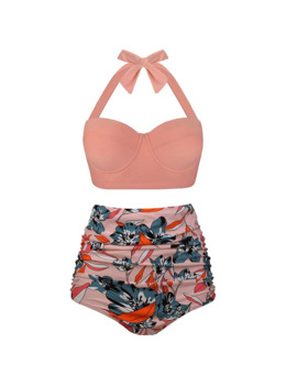 Women Swimsuits Vintage Bandeau Push Up Polka Dot Plus Size Bathing Suits High Waisted Bikini by Ali Express.Com