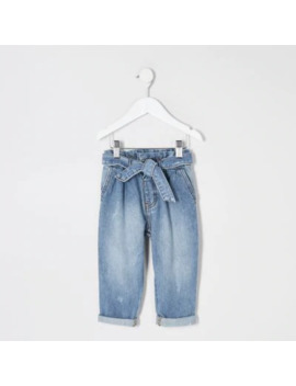 Mini Girls Blue Paperbag Waist Jeans by River Island