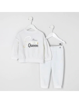 Mini Girls White 'sass Queen' Outfit by River Island