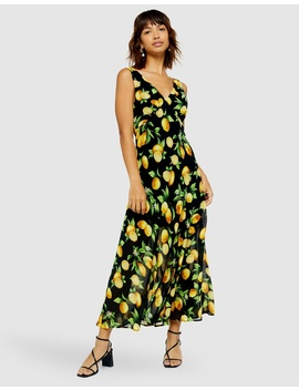 Lemon Print Bias Midi Dress by Topshop
