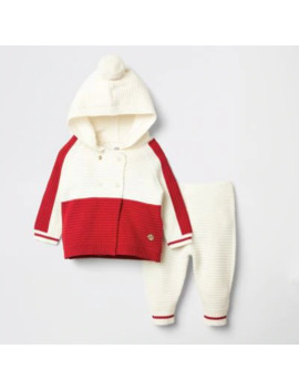 Baby Red Blocked Knitted Cardigan Outfit by River Island