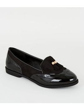 Wide Fit Black Suedette Tassel Loafers by New Look