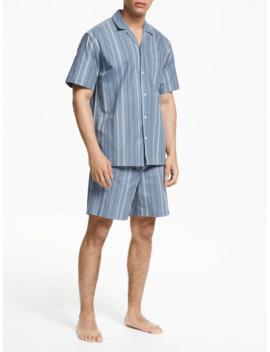 John Lewis & Partners Multi Stripe Pyjama Short Set, Blue by John Lewis & Partners