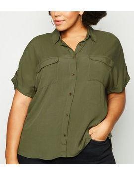 Curves Khaki Double Pocket Short Sleeve Shirt by New Look