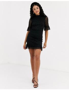 Miss Selfridge Bow Mesh High Neck Dress In Black by Miss Selfridge