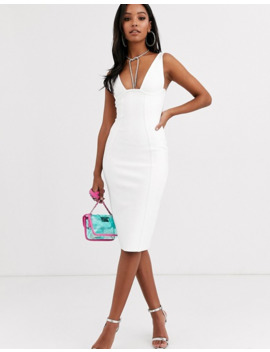 Band Of Stars Extreme Bandage Plunge Front Midi Dress In Ivory by Asos