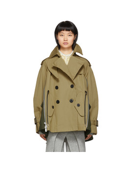 Beige & Khaki Coated Cotton Jacket by Sacai