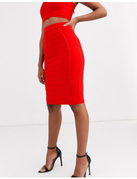band-of-stars-bandage-pencil-midi-skirt-in-red by asos