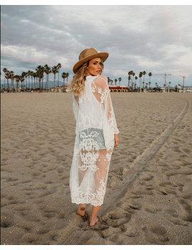 Floral Lace Maxi Beach Kimono   White by Javing