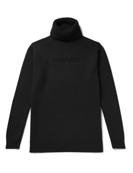 Slim Fit Logo Embossed Wool Blend Rollneck Sweater by Ambush®