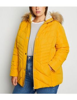 Curves Mustard Faux Fur Fitted Puffer Jacket by New Look