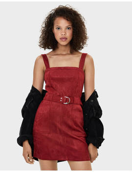 Faux Suede Pinafore Dress Dresses   Bershka United Kingdom by Bershka