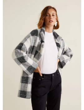 Textured Check Cardigan by Mango