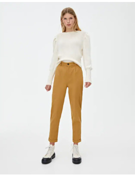 Twill Chino Trousers by Pull & Bear