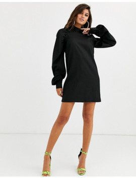 Missguided High Neck Dress With Ruched Detail In Black by Missguided's