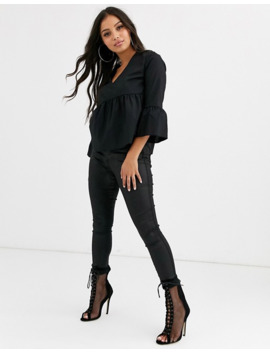 Boohoo Petite V Neck Smock Top In Black by Boohoo