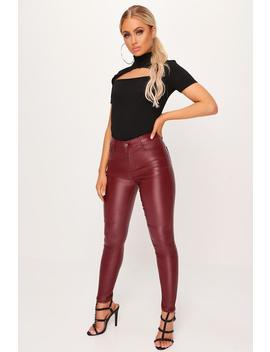 Burgundy Coated High Waist Jeans by I Saw It First