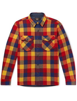 Checked Wool Twill Overshirt by Rrl