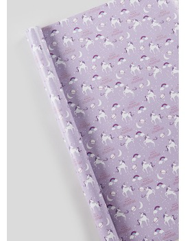 Unicorn Christmas Wrapping Paper (10m) by Matalan