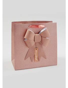 Glitter Bow Christmas Gift Bag (330mm W X 330mm H X 165mm) by Matalan