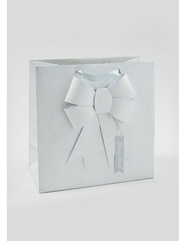 Glitter Bow Christmas Gift Bag (33cm X 33xm X 16.5cm) by Matalan