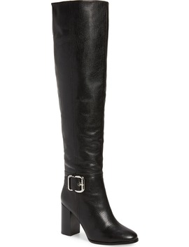 Bridle Over The Knee Boot With Faux Shearling Lining by Jeffrey Campbell