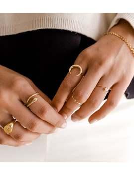 Gold Mond Ring   Minimalistischen Ring   Horn Ring   Zierliche Ring   Zarte Ring   Minimal Ring   Stapelring   Minimalistischen Schmuck   A30 by Etsy