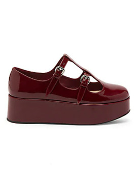 Mary Jane T Strap Patent Leather Ballerina Flatforms by Miu Miu
